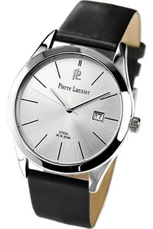 Pierre Lannier Hombre Relojes - 219B123 - Reloj analógico de caballero de cuarzo con correa de piel negra - sumergible a 50 metros