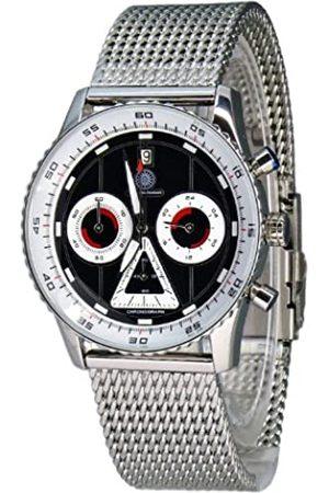 Constantin Durmont Lancer - Reloj cronógrafo de caballero de cuarzo con correa de acero inoxidable plateada (cronómetro) - sumergible a 30 metros
