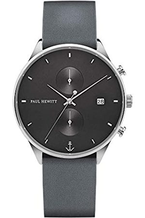 Paul Hewitt Cronógrafo para hombres Chrono Midnight Ocean - Cronógrafo para hombres de acero inoxidable (plata), reloj de pulsera para hombres con cronómetro y correa de cuero (gris-azul)