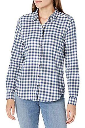 Goodthreads Brushed Flannel Drop-Shoulder Long-Sleeve Shirt Button-Down-Shirts, Deep Blue/Off White Mini Buffalo Plaid