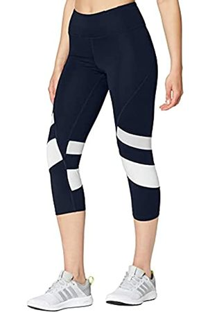AURIQUE Amazon Brand - Leggings deportivos capri con paneles para mujer, (Navy/white), 42