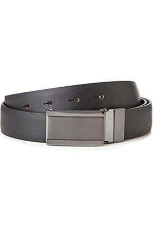 FIND Marca Amazon - Cinturón de Cuero Hombre, (Black), L