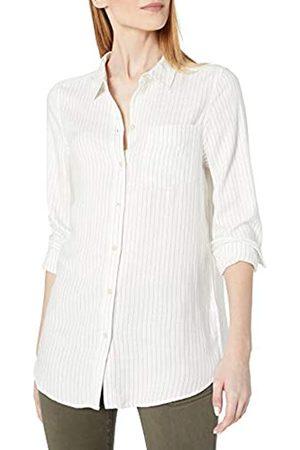 Daily Ritual Amazon Brand - Women's Soft Rayon Slub Twill Long-Sleeve Button-Front Tunic, Heather Grey Crossdye