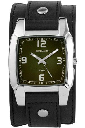 Excellanc 195026000113 - Reloj analógico de caballero de cuarzo con correa de piel negra