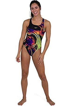 Speedo Placement Digital Powerback Swimsuit, Mujer, Black/Fluo Yellow/Green Glow/Violet