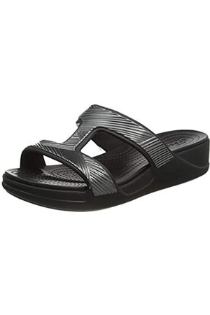 Crocs Slip On, Monterey Metallic Slip-On Wedge Mujer, (Black)