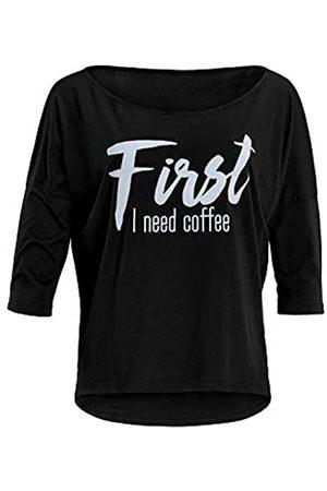 "Winshape Damen Ultra leichtes Modal-3/4-Arm Shirt MCS001 mit weißem ""First I Need Coffee"" Glitzer-Aufdruck, Camisa de Yoga Mujer"