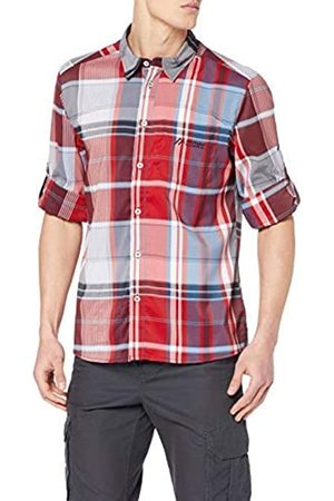 Maier Sports Errki L/S Camisa Funcional para Hombre, Hombre, 147022, Red/Grey Check