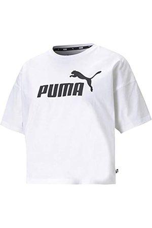 PUMA ESS Cropped Logo tee Camiseta, Mujer, White