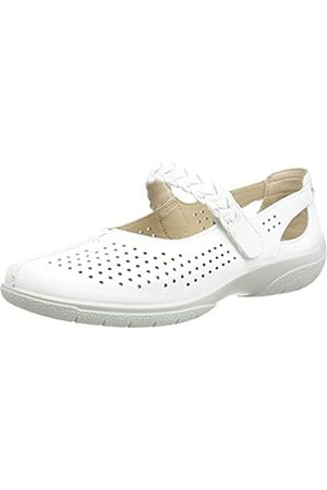 Hotter Quake II Wide, Zapatos Planos Mary Jane Mujer, White