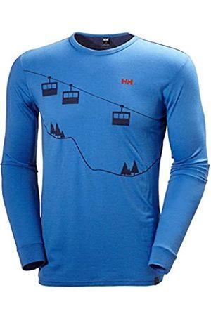 Helly Hansen Hombre Camisetas - HH Wool Graphic LS Camiseta Térmica, Hombre, Racer Blue/Evening Blue
