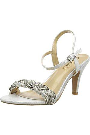 Lotus Jasmine, Zapatos de tacón con Punta Abierta Mujer, (Silver JJ)