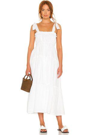 FAITHFULL THE BRAND Vestido midi bellamy en color blanco talla L en - White. Talla L (también en XS, S, M, XL).
