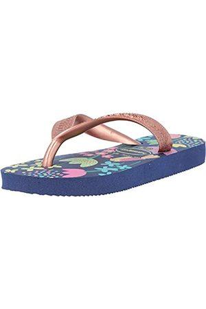 Havaianas Niña Zapatos - Flores, Chanclas Niñas, Dark Blue/Gold