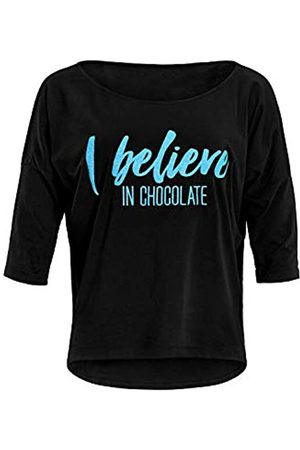 """Winshape Mujer Blusas - Damen Ultra leichtes Modal-3/4-Arm Shirt MCS001 mit Neon blauem """"I Believe in Chocolate"""" Glitzer-Aufdruck, Camisa de Yoga Mujer"""