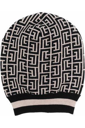 Balmain Hombre Sombreros - Two-tone monogram intarsia-knit hat