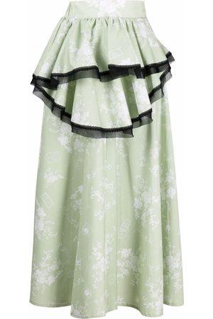 ULYANA SERGEENKO Mujer Asimétricas - Falda asimétrica con motivo floral