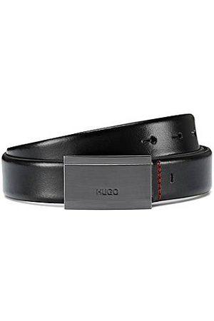 HUGO BOSS Cinturón de piel lisa con hebilla de placa y logo grabado