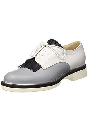 Pollini 865, Zapatos de Cordones Brogue Mujer, Multicolore (Stone Calf-Black Calf-White Calf Silver-Black-White Sole)