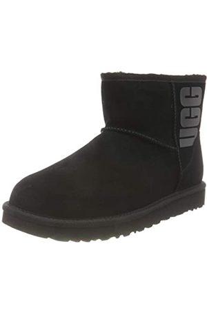 UGG Female Classic Mini Rubber Logo Classic Boot, Black