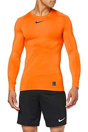 Nike Men's Pro Top Long Sleeved t-Shirt, Hombre, Safety Orange/Black