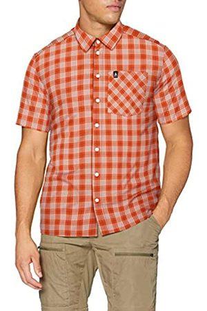 Odlo Nikko Check Lo Kurzarm Hemd Camisa de Manga Corta para Hombre, Paprica-Cuadros