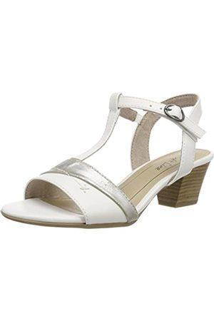Soft Line 28360, Sandalias con Tira Vertical Mujer, (White/Silver)