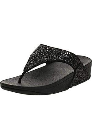 FitFlop Lulu Toe-Thongs, Sandalias de Punta Descubierta Mujer, Black (Black Glitter 339)