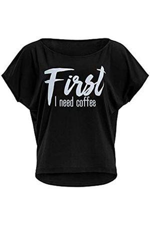 Winshape Mcs001 - Camiseta Ultraligera de Manga 3/4 para Mujer, con Texto en inglés First I Need Coffee, Mujer, Camiseta, MCT002-SCHWARZ-WEISS-COFFEE
