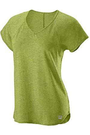 Wilson Mujer Camiseta de Manga Corta, Training V-Neck T-Shirt, Poliéster/Algodón, Verde (Dark Citron Heather), Talla XL
