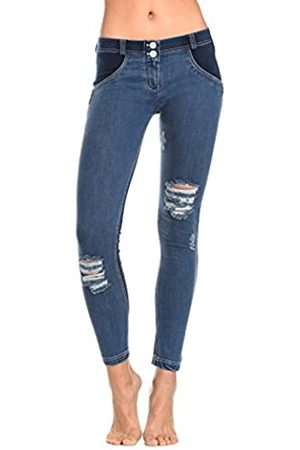 Freddy WR.UP® Shaping Effect - Talle Bajo - Pitillo - Parte Trasera en Jersey - Parte Delantera en True Envejecido - Jeans Oscuro-Costuras Blancas - Extra Small