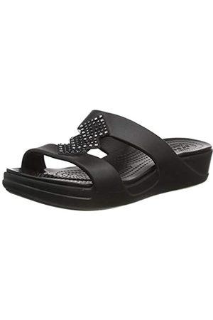 Crocs Monterey Shimmer Slip On Wedge, Sandalias con cuña Mujer, Black