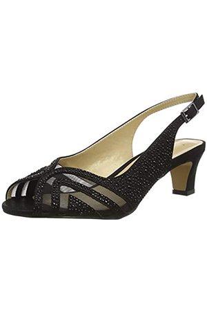 Lotus Glinda, Zapatos de tacón con Punta Abierta Mujer, (Black Bj)