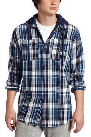 DC Bidwell – Camisa de Manga Larga – A Cuadros – Algodón – Hombre Bleu (Deep Blue) Talla:S