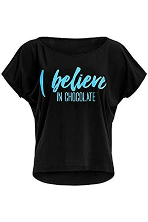 Winshape Mct002 - Camiseta de Manga Corta para Mujer, Ultraligera, Modal, con Texto i Believe in Chocolate, Mujer, Camiseta, MCT002-SCHWARZ-BLAU-CHOCOLATE