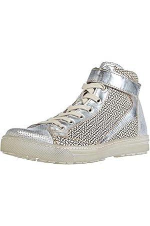 manas Mujer Zapatillas deportivas - Tina, Zapatillas Altas Mujer, Plata-Silber (Silver+Silver+Nero)