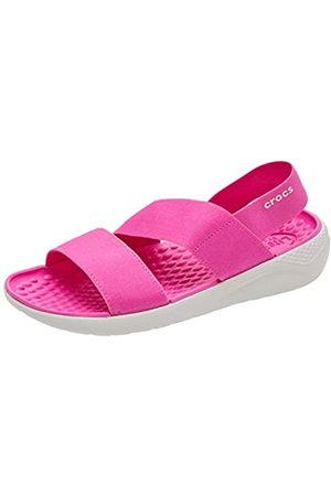 Crocs Literide Stretch Sandal Women, Sandalias de Punta Descubierta para Mujer, (Electric Pink/Almost White 6qv)