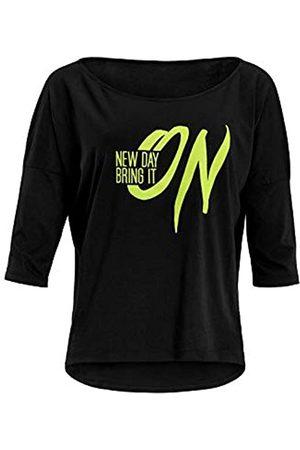 WINSHAPE Mcs001 - Camiseta de Yoga para Mujer (Manga 3/4), diseño con Texto en inglés New Day Bring It On, Mujer, Camisa de Yoga, MCS001-SCHWARZ-GELB-ON