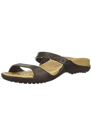 Crocs Cleo, Sandalias de Punta Descubierta para Mujer, (Espresso/Gold 23q)