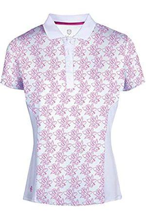 Island Green Camisa Polo de Manga Corta Transpirable con Estampado Floral para Mujer, Mujer, Camisa de Golf, IGLTS2052_WTHPK_S