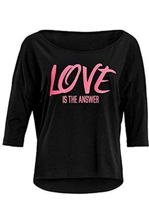 Winshape Mcs001 - Camiseta de Yoga para Mujer (Manga 3/4), Color neón con Texto Love Is The Answer, Mujer, Camisa de Yoga, MCS001-SCHWARZ-GRUEN-HUNGRY