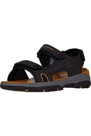 Skechers Hombre Sandalias - Tresmen Hirano, Sandalias de Punta Descubierta Hombre, (Black Synthetic Black)