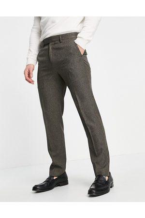 River Island Pantalones de vestir marrones de corte pitillo a cuadros pequeños estilo pata de gallo de