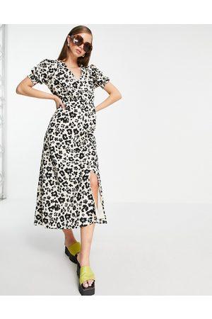River Island Mujer Casual - Vestido midi marrón abotonado con de leopardo de