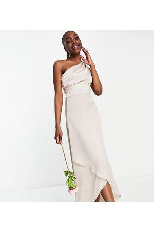 TFNC Tall Vestido de dama de honor largo color con diseño asimétrico de -Rosa