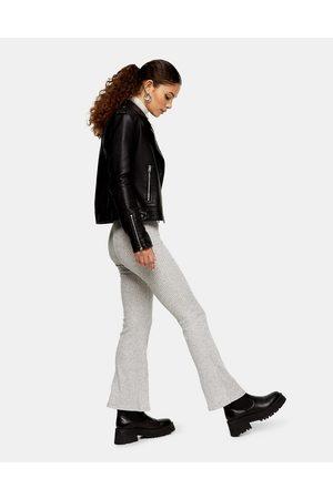 Topshop Pantalones de campana grises de canalé de -Marrón