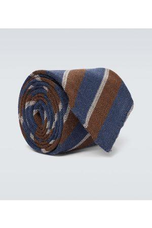 Thom Sweeney Corbata de lana y seda a rayas