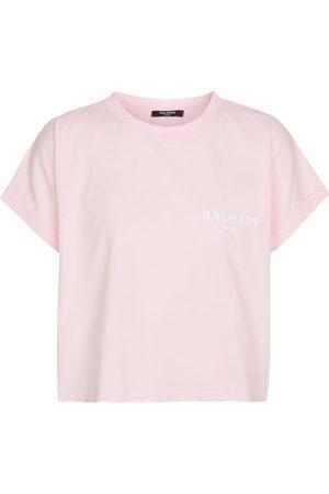 Balmain Camiseta de algodón con logo