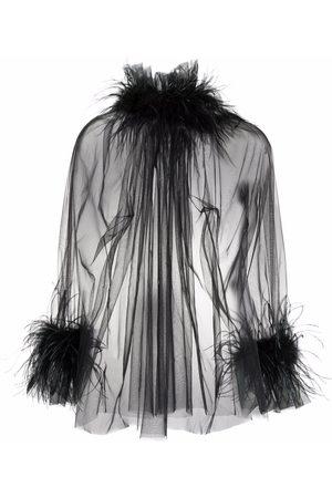 Styland Blusa translúcida con ribete de plumas