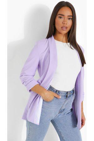 Boohoo Ruched Sleeve Tailored Blazer, Purple